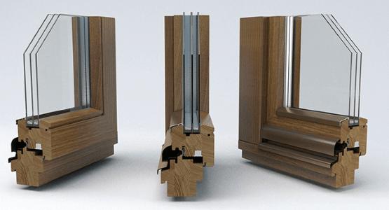 Деревянные окна с двухкамерным стеклопакетом.