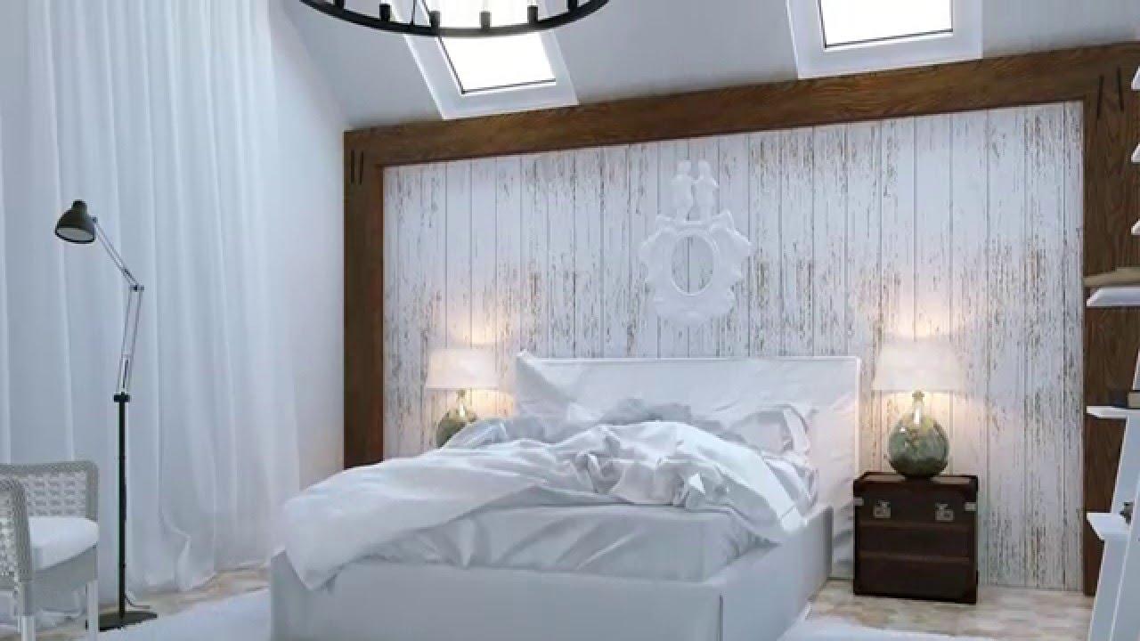 Белая деревянная стена в спальне