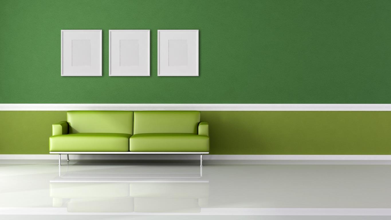 Покраска стен в зеленый