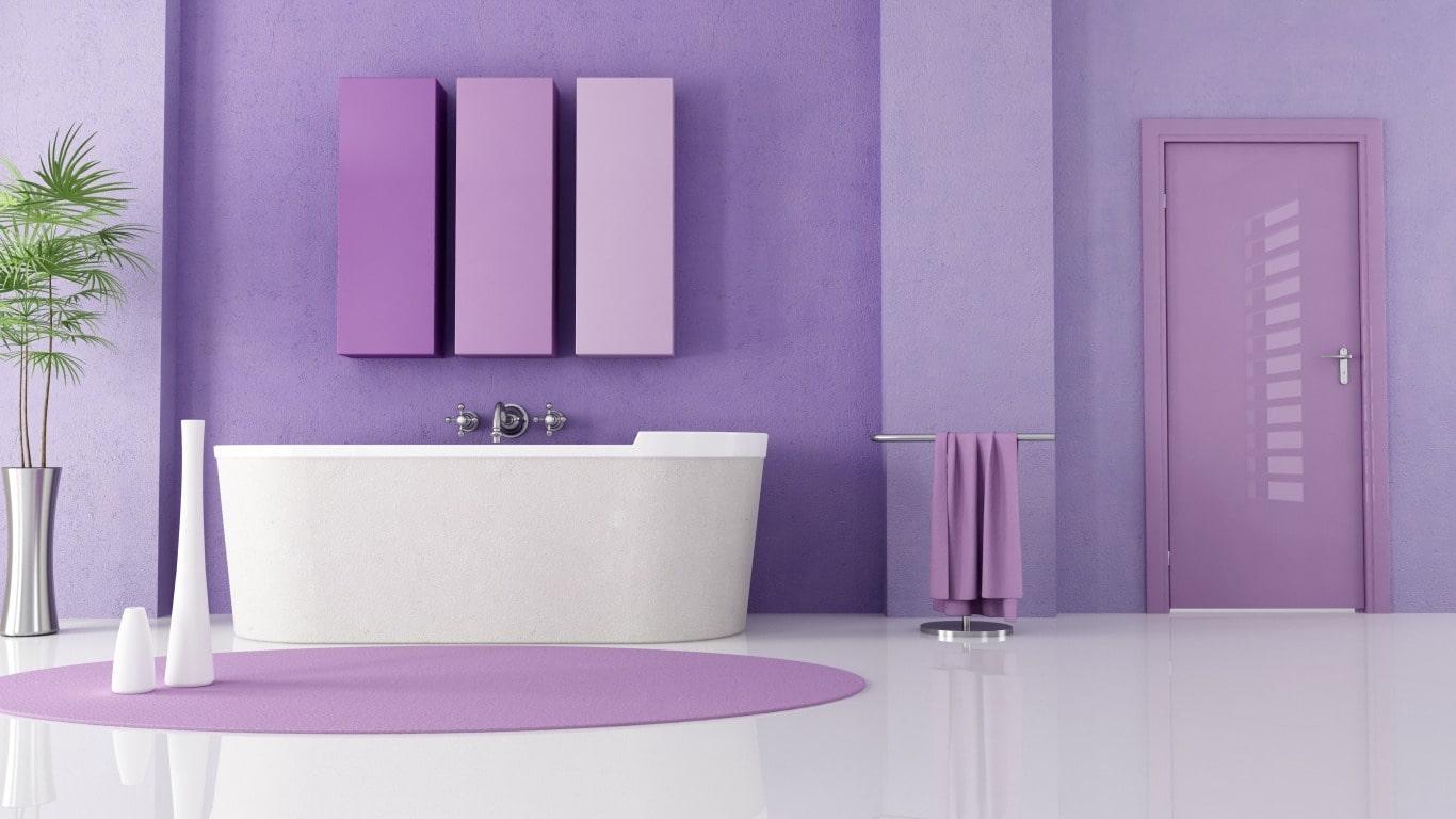 Санузел в фиолетовых тонах