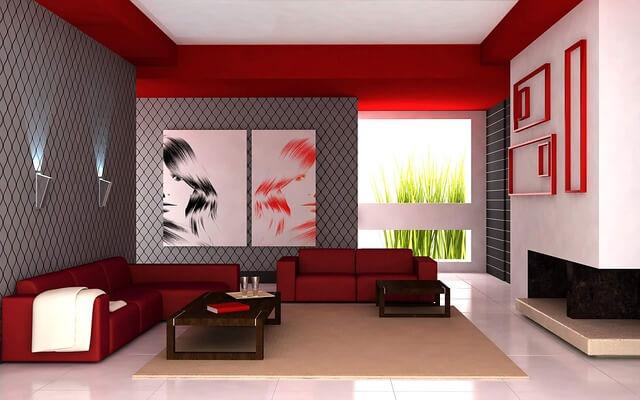 Красный в дизайне гостиной комнаты