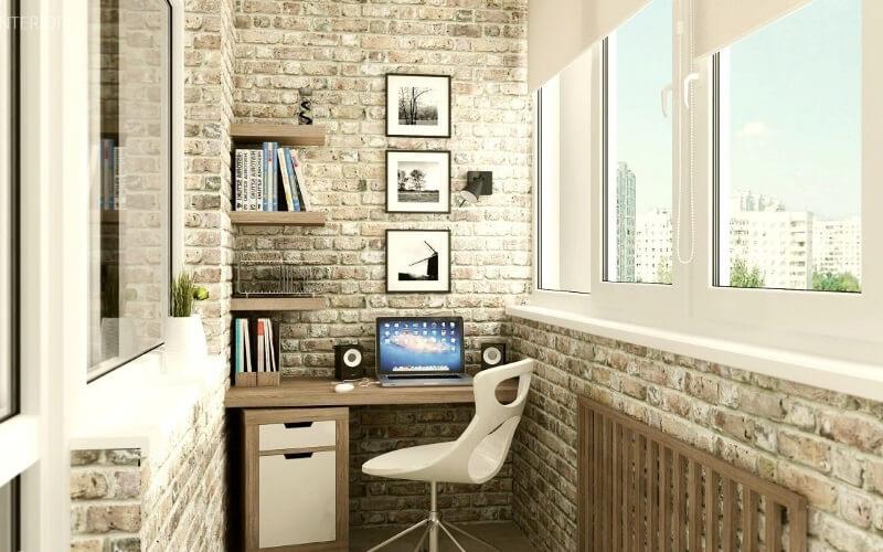 Кабинет на балконе - дизайн